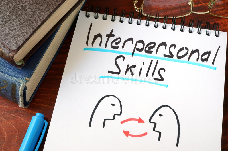 Interpersonal Skills. Written in a paper with a glasses royalty free stock image