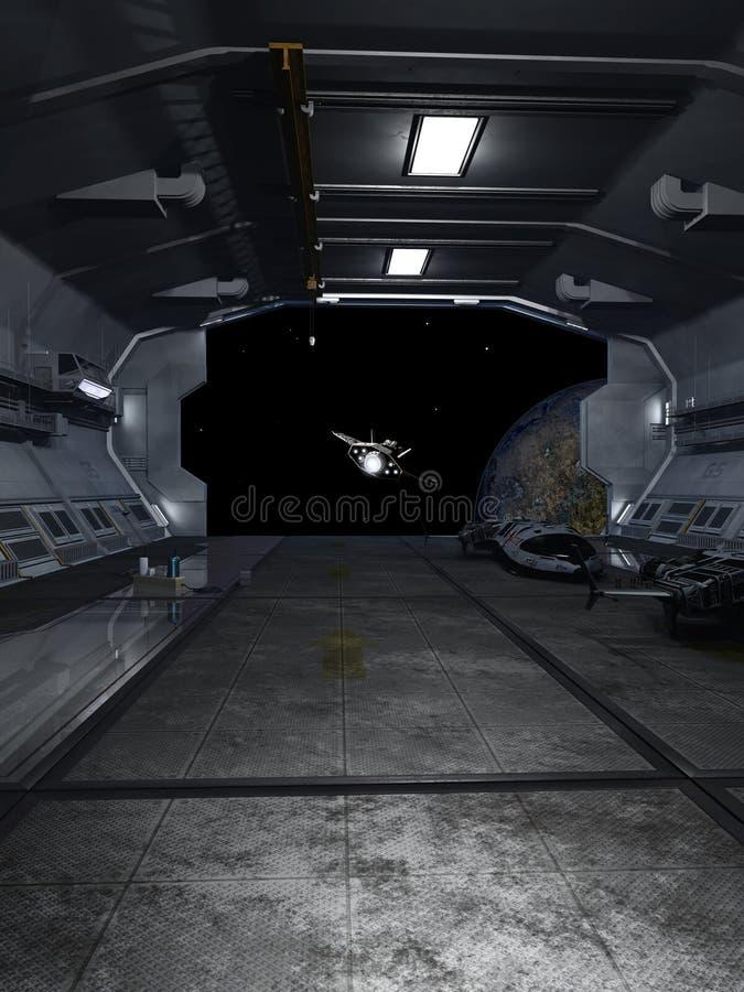 Interplanetair Ruimteschip die de Dokkende Baai verlaten royalty-vrije illustratie