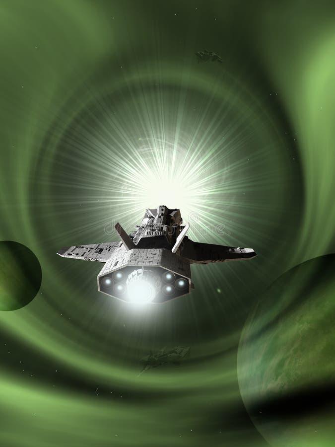 Interplanetair Ruimteschip die Lichte Snelheid naderen royalty-vrije illustratie