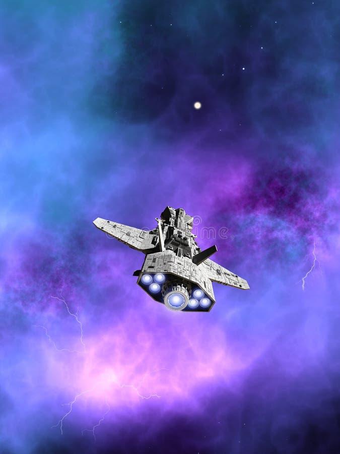 Interplanetair Ruimteschip die naar een Nevel vliegen vector illustratie