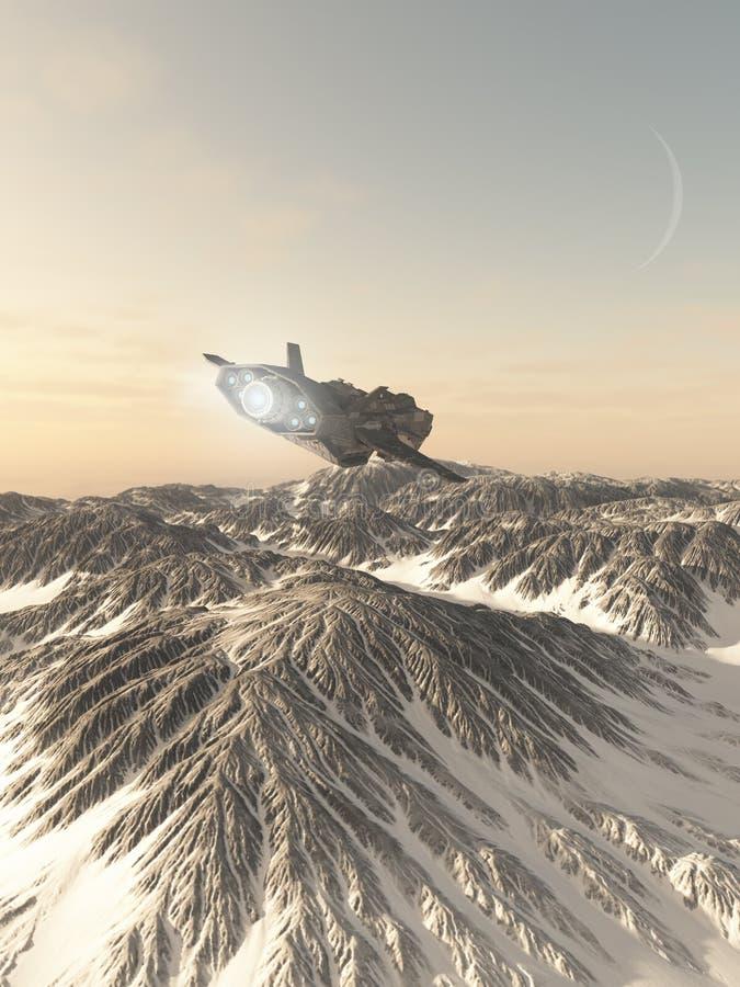 Interplanetair Ruimteschip die over Sneeuw Behandelde Bergen vliegen royalty-vrije illustratie