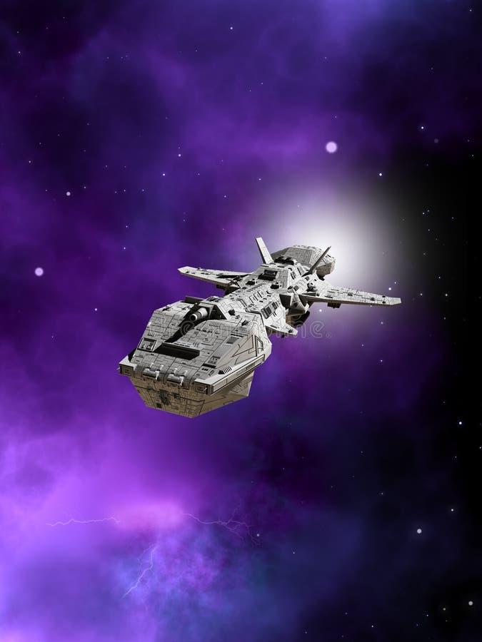Interplanetair Ruimteschip die vanaf een Nevel vliegen vector illustratie