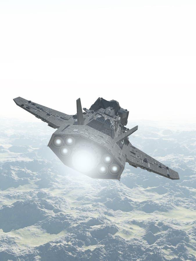 Interplanetair Ruimteschip over Berglandschap royalty-vrije illustratie