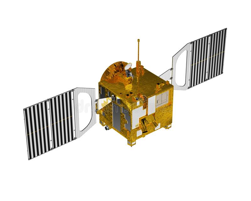 Interplanetair Ruimtestation dat op Witte Achtergrond wordt geïsoleerd stock illustratie