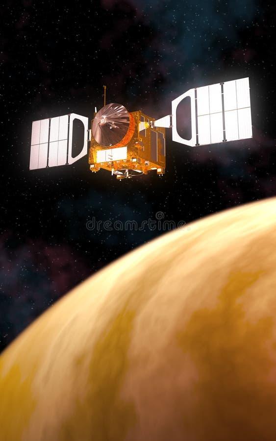 Interplanetair Ruimtestation die Gele Planeet cirkelen vector illustratie