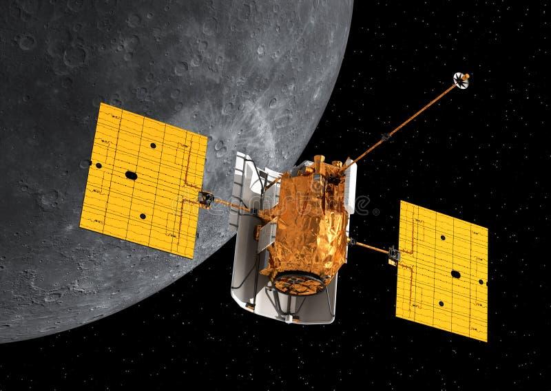 Interplanetair Ruimtestation die Mercury cirkelen royalty-vrije illustratie