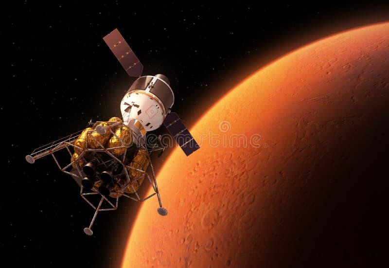 Interplanetair Ruimtestation die Rode Planeet cirkelen vector illustratie