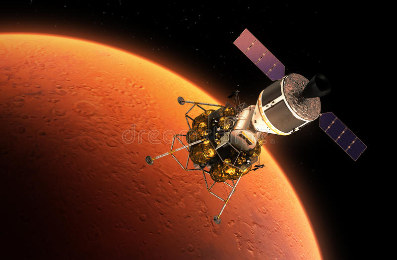 Interplanetair Ruimtestation die Rode Planeet cirkelen royalty-vrije illustratie