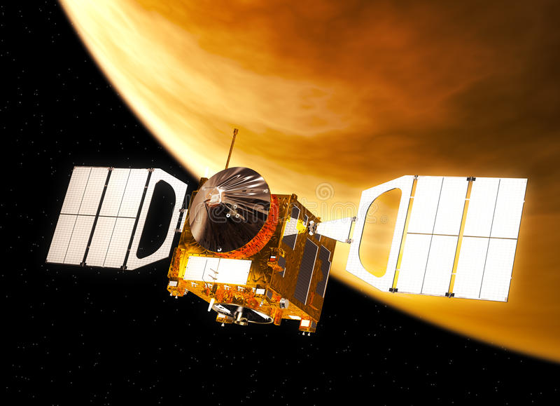 Interplanetair Ruimtestation het Cirkelen Venus stock illustratie