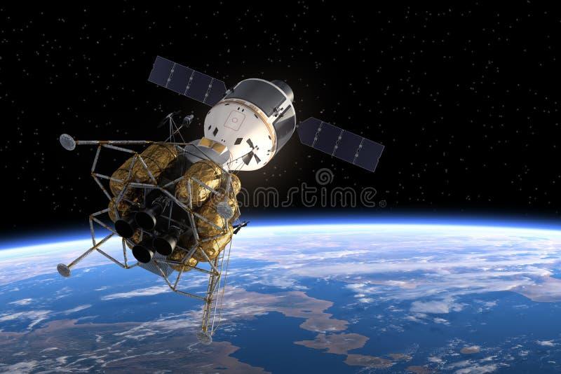 Interplanetaire Ruimtestation Cirkelende Aarde vector illustratie