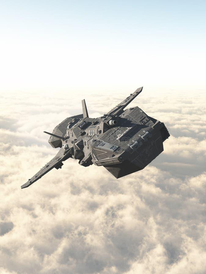 Interplanetariskt rymdskepp ovanför molnen stock illustrationer
