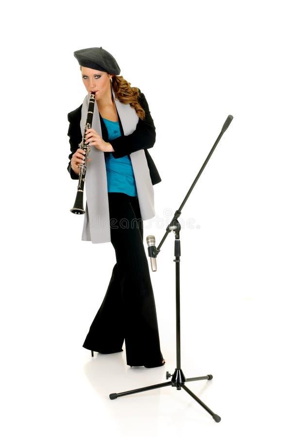 Interprète de musique, clarinet images stock