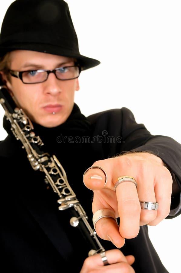 Interprète de musique, clarinet photo stock