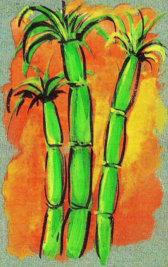 Interprétation artistique de trois tiges vertes de canne à sucre sur le fond orange image libre de droits
