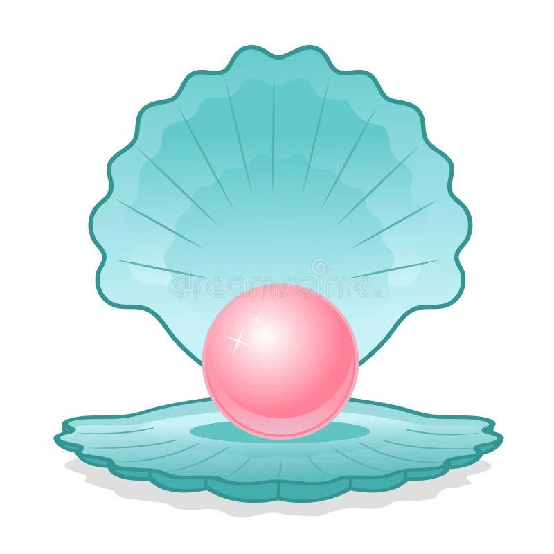 Interpréteur de commandes interactif bleu avec la perle rose illustration de vecteur