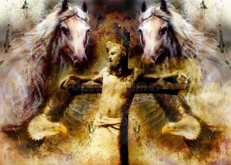 Interpretação de Jesus na cruz e nos animais, versão gráfica da pintura Efeito do Sepia ilustração do vetor