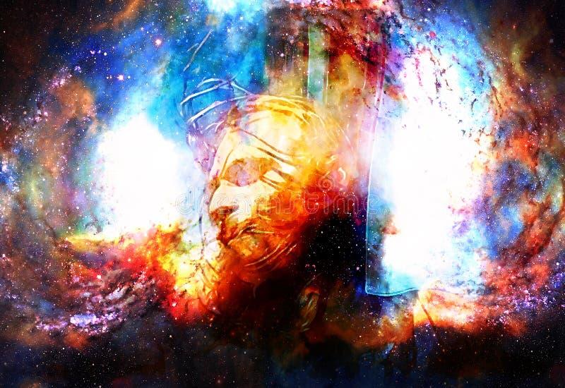 Interpretación de Jesús en la cruz en espacio cósmico stock de ilustración