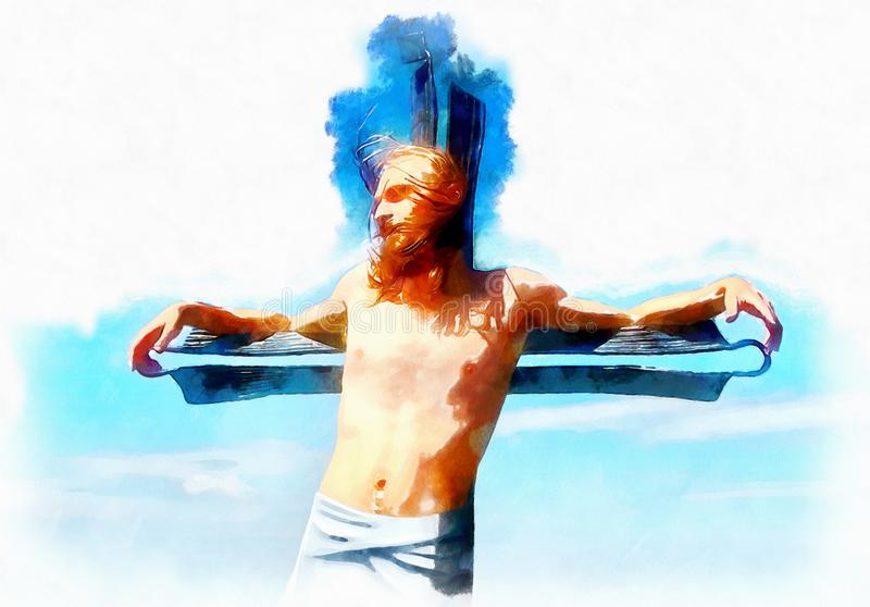 Interpretación de Jesús en la cruz, versión gráfica de la pintura fotografía de archivo libre de regalías
