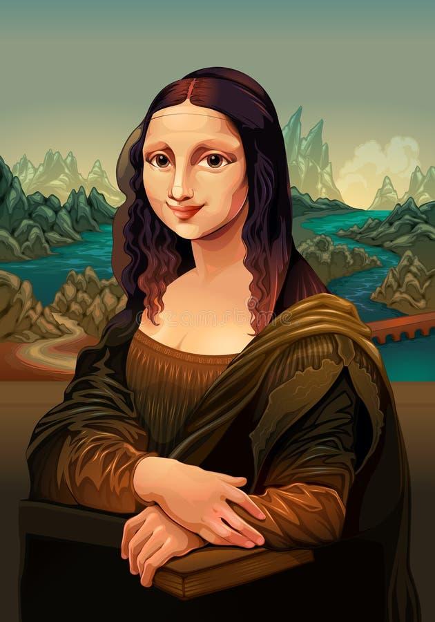 Interpretación de Mona Lisa, pintando por Leonardo da Vinci stock de ilustración