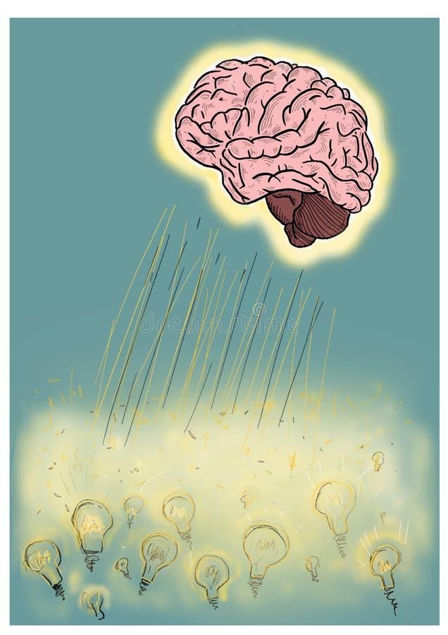 Interpretation of creating a brilliant idea. The illustration is made up of a brain that illuminates an expanse of light bulbs thr stock photo