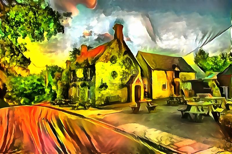 Interpretazione del paesaggio nello stile di surrealismo fotografie stock libere da diritti