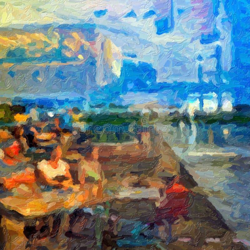 Interpretazione moderna della scena impressionista del caffè, stile della pittura a olio immagini stock libere da diritti