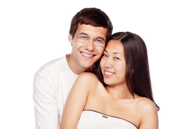 Interracial couple in love stock photos