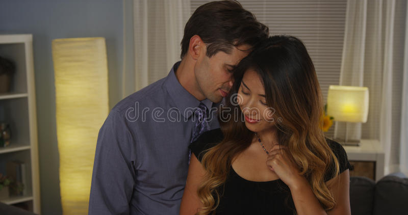 Interracial couple in love royalty free stock photo