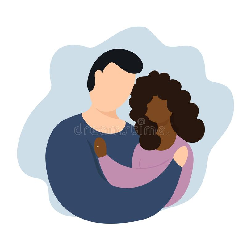 Interracial couple vector illustration. Interaction marriage. Couple with rings. Interracial reletionship royalty free illustration