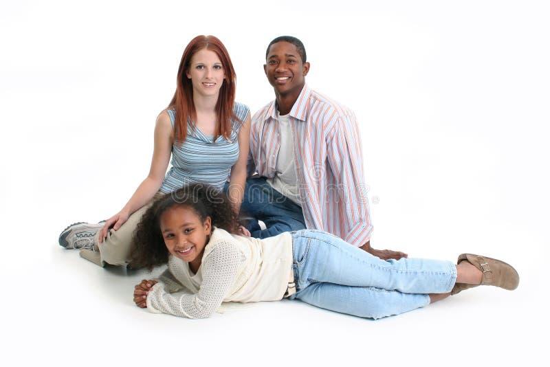 Interracial Familie stock afbeelding