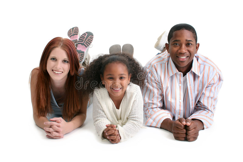 Interracial Family. Mom, dad, daughter. Happy interracial family over white background royalty free stock images