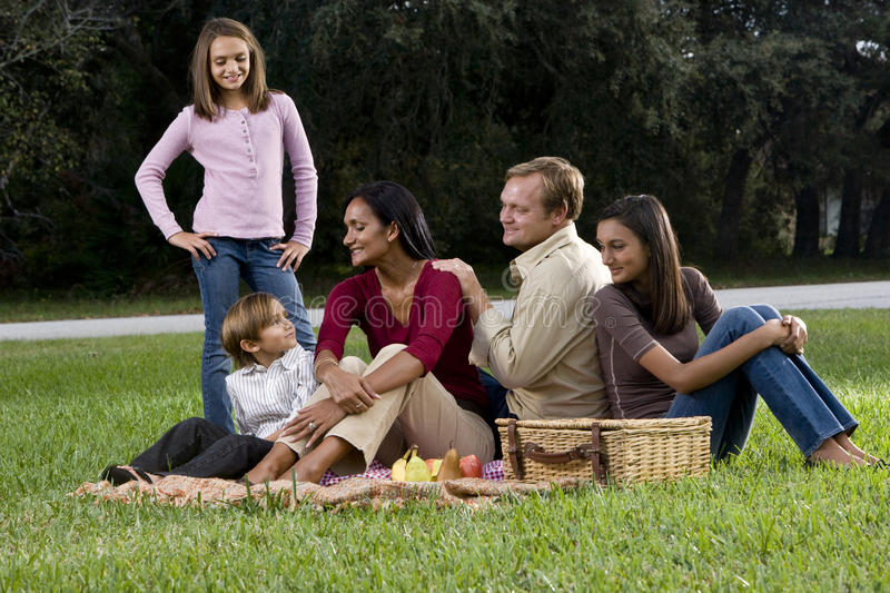 Interracial family of five having picnic in park royalty free stock photos