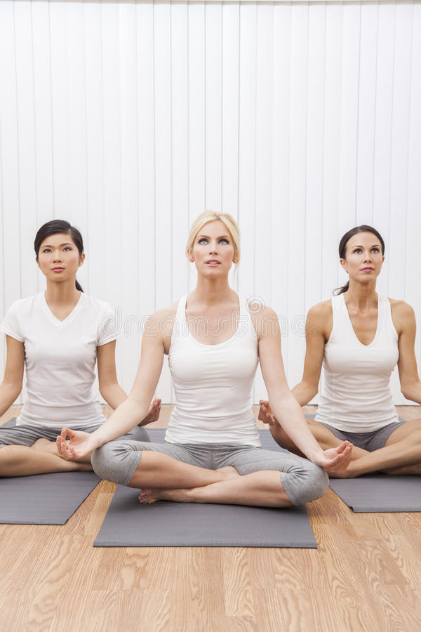 Interracial Group of Women In Yoga Position stock image