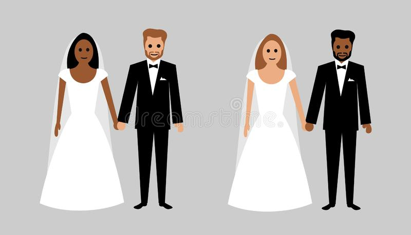 Interracial and multiracial marriage. Bride and groom with black and white skin. Multicultural wedding. Love relationship and romance between diverse race stock illustration