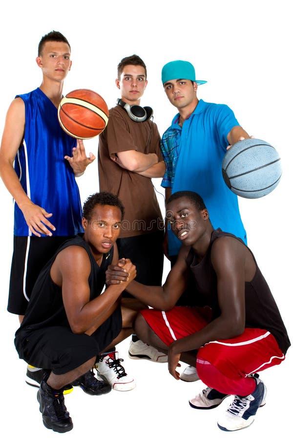 Interracial team van het Basketbal