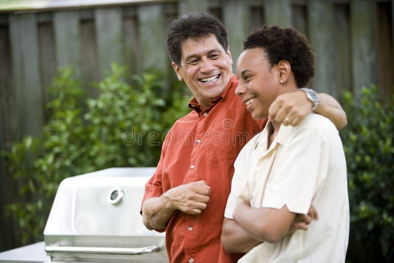 Interracial vader en zoon royalty-vrije stock fotografie