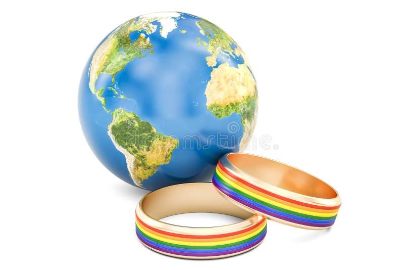 Interri il globo con gli anelli dell'arcobaleno di LGBT, 3D royalty illustrazione gratis