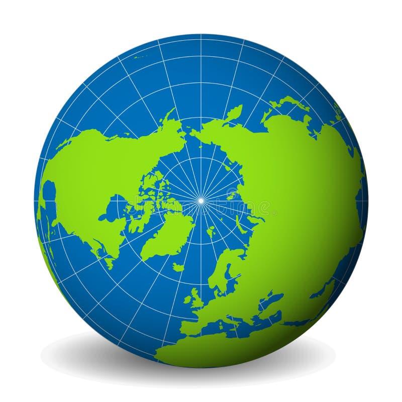 Interri il globo con la mappa di mondo verde e mari ed oceani blu messi a fuoco sul mare Glaciale Artico e sul polo nord Con bian illustrazione di stock