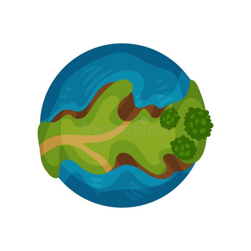 Interri il globo del pianeta con l'oceano e l'illustrazione verde di vettore della terra su un fondo bianco illustrazione vettoriale