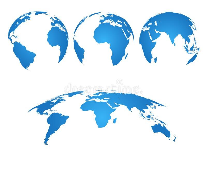 INTERRI IL GLOBO mappa di mondo 3d con i continenti e gli oceani della siluetta Il vettore ha isolato l'insieme royalty illustrazione gratis