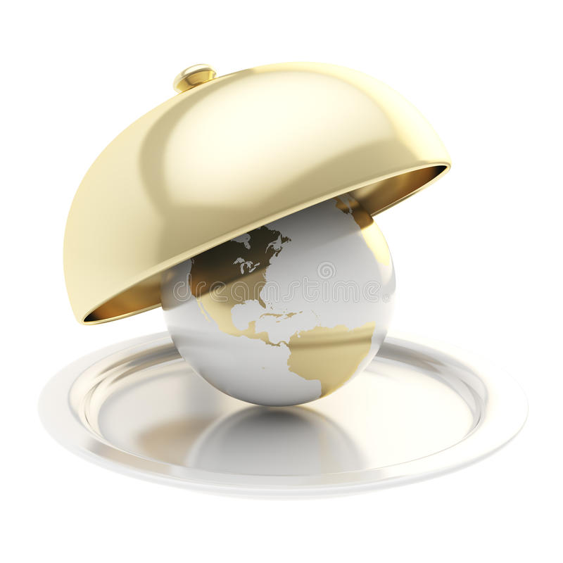 Interri il globo sul vassoio ceramico nell'ambito di un coperchio dorato dell'alimento illustrazione vettoriale