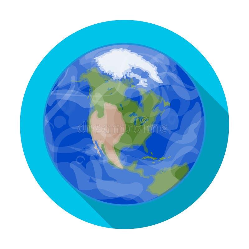 Interri l'icona nello stile piano isolata su fondo bianco Illustrazione di vettore delle azione di simbolo dei pianeti royalty illustrazione gratis