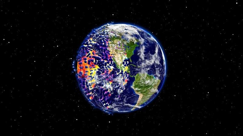 Interri la combustione o l'esplosione dopo un disastro globale, globo a forma di stella di impatto di apocalisse royalty illustrazione gratis