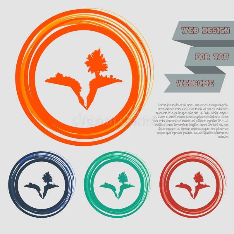 Interri la crepa, spaccatura nell'icona sui bottoni rossi, blu, verdi, arancio per il vostro sito Web e sulla progettazione con i royalty illustrazione gratis