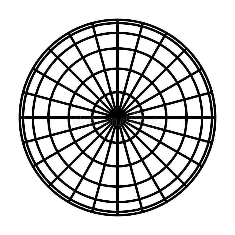 Interri la griglia del globo del pianeta dei meridiani e paralleli spessi neri, o la latitudine e longitudine illustrazione di ve illustrazione vettoriale