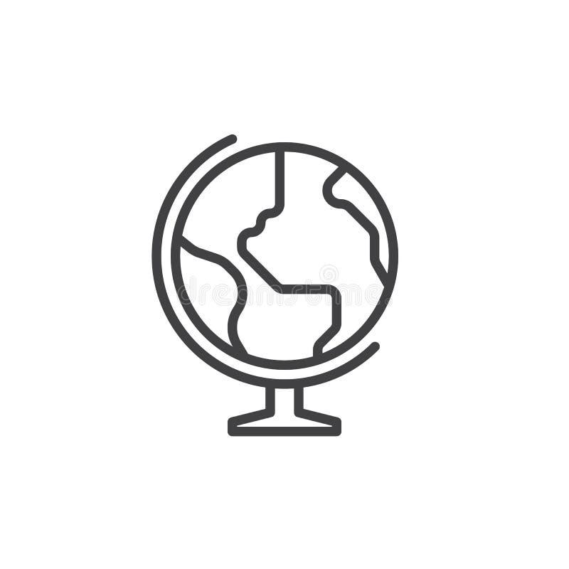 Interri la linea l'icona, il segno di vettore del profilo, pittogramma lineare del globo di stile isolato su bianco illustrazione vettoriale