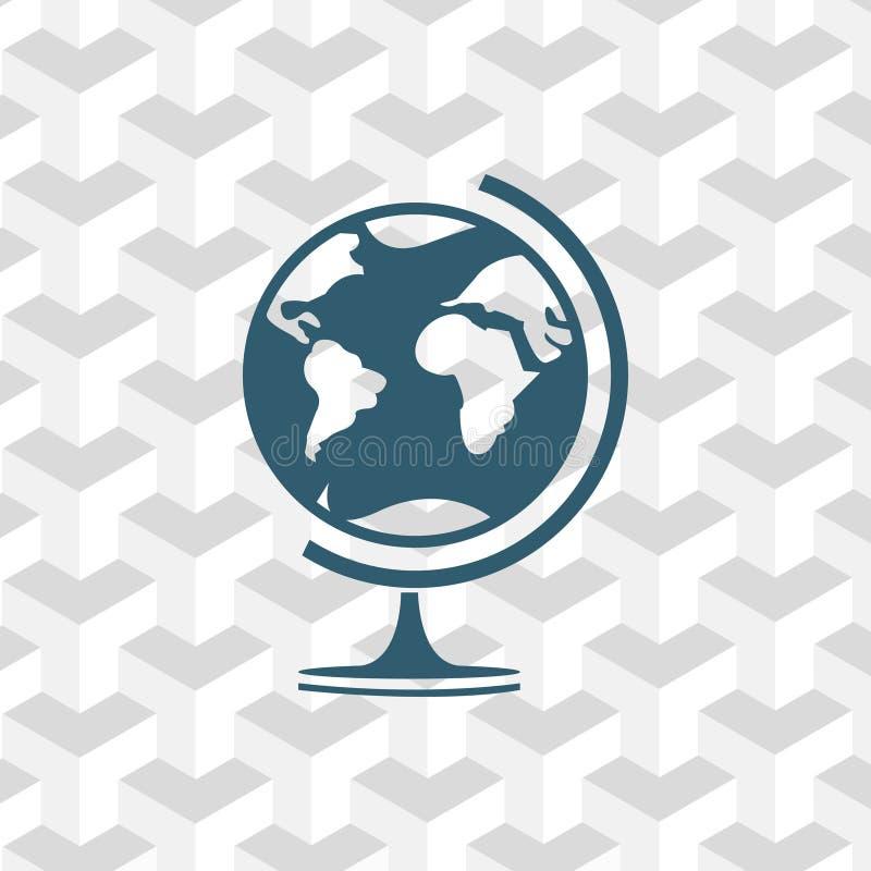 Interri la progettazione piana dell'illustrazione di vettore delle azione dell'icona del globo illustrazione di stock