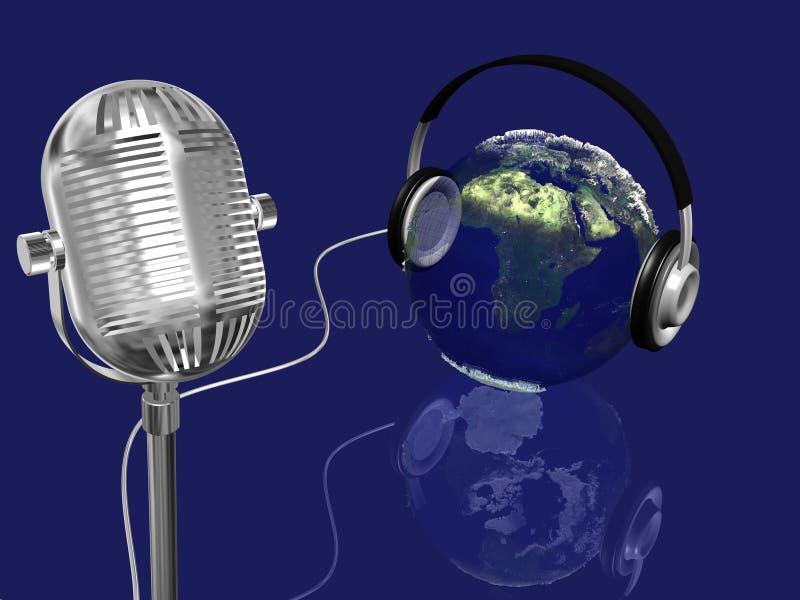 Interri la sfera con le cuffie ed il retro mic, concetto di musica immagini stock libere da diritti
