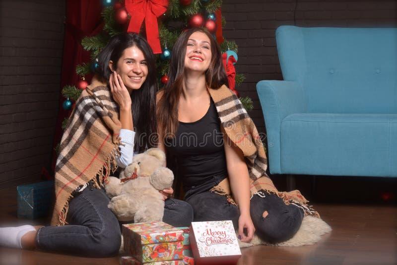 Interrior för nytt år den lyckliga kvinnan sitter på golvet som täckas i filt arkivbild