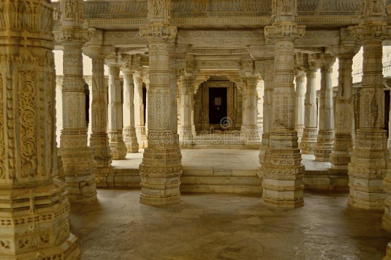 Interrior of Jain temple at Ranakpur stock photo